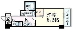 新芦屋ビル 5階1Kの間取り