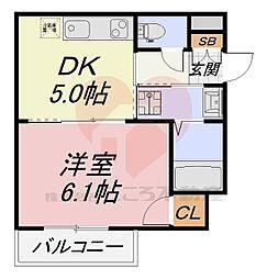 フォレストインサイド深井 9階1DKの間取り