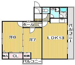 大阪府高槻市塚原2丁目の賃貸マンションの間取り