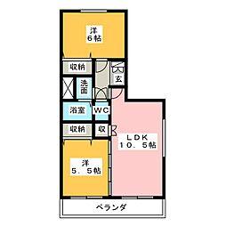 愛知県名古屋市守山区吉根3の賃貸アパートの間取り