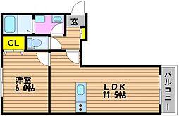 岡山県岡山市北区西長瀬の賃貸アパートの間取り