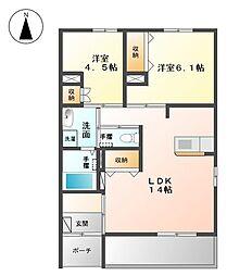 栃木県下野市文教2丁目の賃貸アパートの間取り