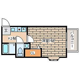 兵庫県神戸市須磨区須磨寺町2丁目の賃貸アパートの間取り