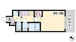 レシオス神戸元町 7階1Kの間取り
