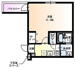 フジパレス田中町II番館 3階1Kの間取り