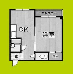 グランビルド住之江公園 3階1DKの間取り