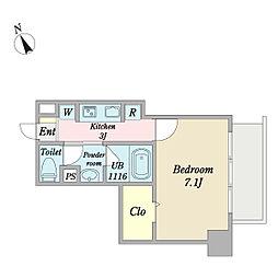 Casa RIZAEMON 5階1Kの間取り
