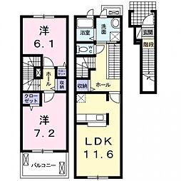 埼玉県熊谷市千代の賃貸アパートの間取り