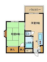 ハイツ武庫川[101号室]の間取り