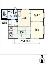 フレグランス左京山[2階]の間取り