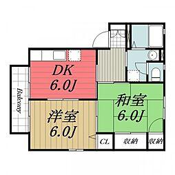 千葉県成田市公津の杜3丁目の賃貸アパートの間取り