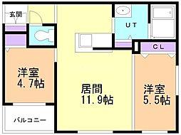CITY RESIDENCE 幌平橋 4階2LDKの間取り