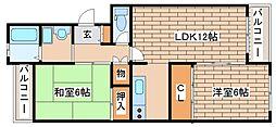 兵庫県神戸市中央区上筒井通5丁目の賃貸マンションの間取り