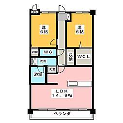 愛知県名古屋市守山区小幡宮ノ腰の賃貸マンションの間取り