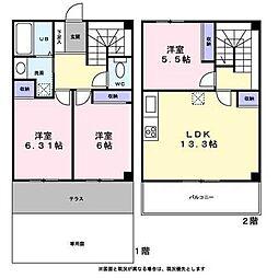 [テラスハウス] 東京都八王子市宇津木町 の賃貸【東京都 / 八王子市】の間取り