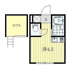 東京都北区赤羽北2丁目の賃貸アパートの間取り