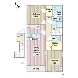 宮園3丁目A棟計画 2階2LDKの間取り