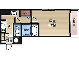 サンライズ都島 4階2DKの間取り