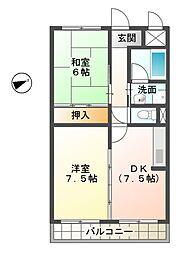 滋賀県愛知郡愛荘町愛知川の賃貸マンションの間取り