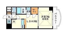 ノルデンタワー新大阪アネックス A棟 22階1LDKの間取り