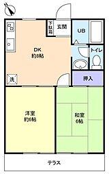 ハイツエノサワA棟[1階]の間取り