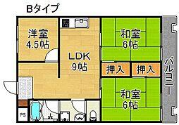 パークハイム住之江[3階]の間取り