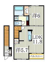 シャ ブルー[2階]の間取り