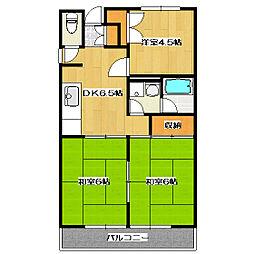 エステートフクヨPart1[2階]の間取り