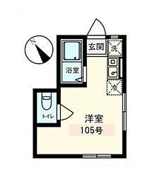 東京都品川区小山6丁目の賃貸アパートの間取り