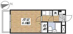 シルフィード昭島II 3階ワンルームの間取り