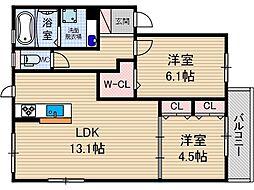 セジュール蔵[2階]の間取り