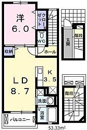 埼玉県川口市藤兵衛新田の賃貸アパートの間取り