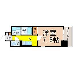 名古屋市営鶴舞線 浅間町駅 徒歩8分の賃貸マンション 9階1Kの間取り