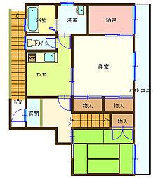 FT籠原南アパート 2階2SDKの間取り