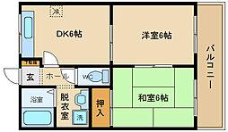 大阪府八尾市弓削町1丁目の賃貸マンションの間取り