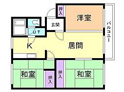 コーポオカムラ 2階3LDKの間取り