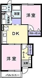 埼玉県春日部市粕壁東6の賃貸アパートの間取り