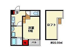 ルーチェ 2階1Kの間取り