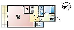 リベックス[3-C号室]の間取り