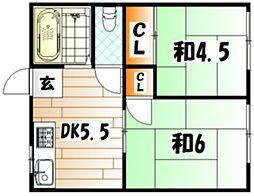 畑田第一アパート[203号室]の間取り