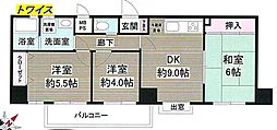 JR青梅線 青梅駅 徒歩8分の賃貸マンション 3階3DKの間取り