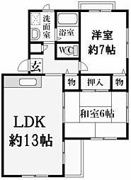 兵庫県西宮市若松町の賃貸マンションの間取り
