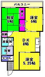 大阪府富田林市若松町4丁目の賃貸アパートの間取り