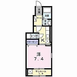 長野県長野市高田の賃貸アパートの間取り