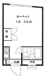 東京都中野区中央3丁目の賃貸マンションの間取り