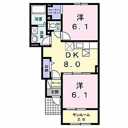 JR日豊本線 国分駅 徒歩31分の賃貸アパート 1階2DKの間取り