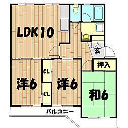 シティハイツ弥生台[4階]の間取り