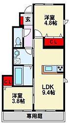 筑豊電気鉄道 楠橋駅 徒歩7分の賃貸アパート 1階2LDKの間取り