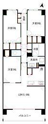 JR総武線 東中野駅 徒歩4分の賃貸マンション 5階3LDKの間取り
