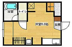 ポルトボヌール府中弐番館 1階ワンルームの間取り